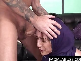 Arab slut gets another rough facefuck